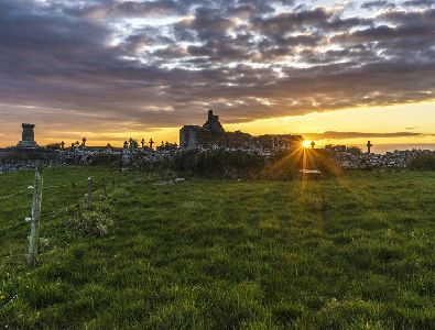 Sunset over Kililagh Church, Doolin, Co. Clare, Wild Atlantic Way