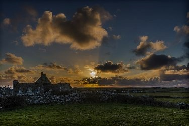 Sunset at Killilagh Church, Doolin, co. Clare, Wild Atlantic Way