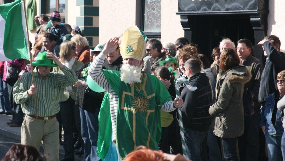 St Patrick leads the way at the head of the Doolin Parade.